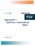 Approaches to Staff Care in International Ngos
