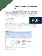 Menghitung Matriks Dengan Menggunakan Microsoft Excel