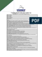 Unidep Combinación de Teclas Para Wndows Xp