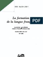 La Formation de La Langue Francaise