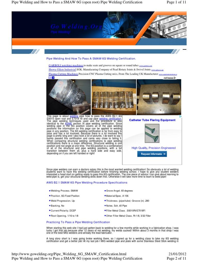 Pipe Welding 6g Smaw Certification Welding Pipe Fluid Conveyance