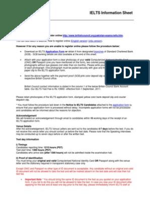 Pakistan Ielts Information Sheet | Identity Document
