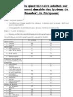 traitement du sondage adulte sur le développement durable  des  lycéens de Jay de Beaufort