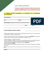 Model Cerere de Autorizare Electricieni