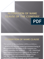Alteration of Name Clause of the Company