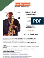 Jean Toussaint Workshop and Concert Poster