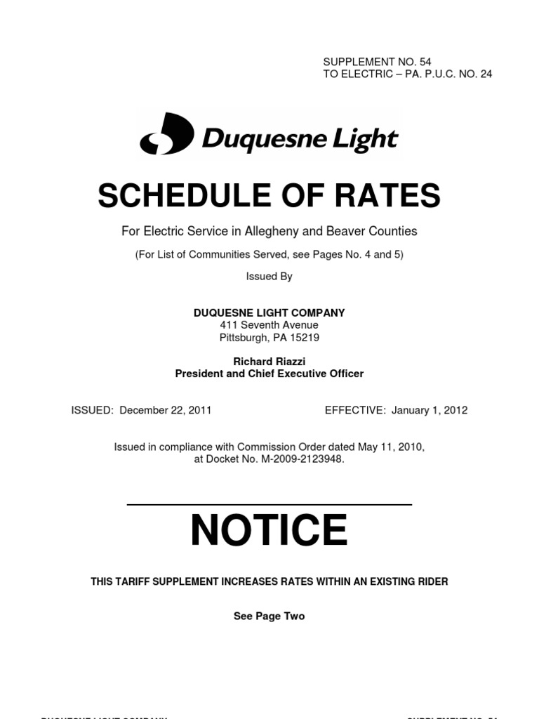 Duquesne Light Co Cur Tariff Electric Power Distribution Ta