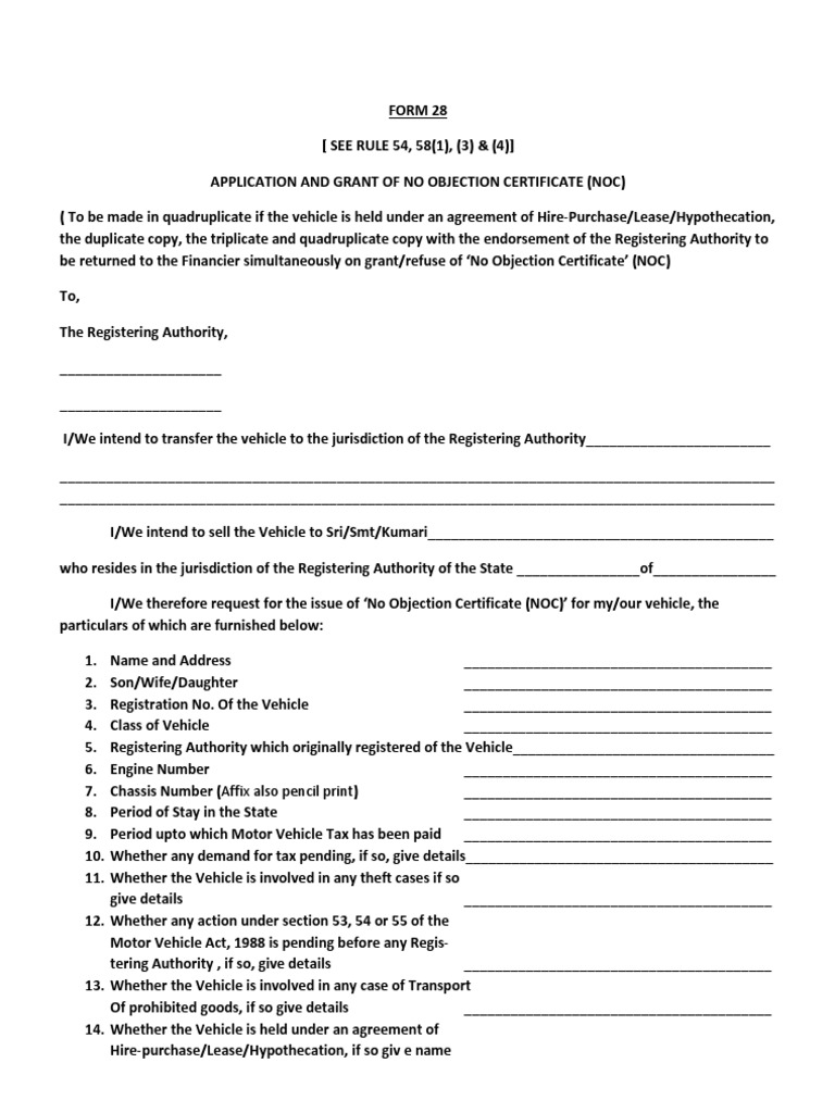 FORM 28 Grant Of No Objection Certificate | Vehicles | Public Law  Noc Certificate