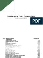Captive Power Plants Till 2006