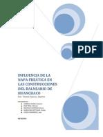 INFLUENCIA DE LA NAPA FREÁTICA EN LAS CONSTRUCCIONES DEL BALNEARIO DE HUANCHACO