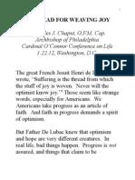 """A Thread for Weaving Joy"" -- Archbishop Charles Chaput OFM Cap. Keynote at 2012 John Cardinal O'Connor Conference on Life"