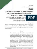 A POLÍTICA E A SOCIEDADE DO PÓS-GUERRA FRIA SOB A ÓTICA DA MODERNIZAÇÃO REFLEXIVA E DA CRÍTICA PÓS-COLONIAL