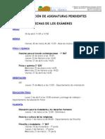 FECHAS EXÁMENES PENDIENTES 2012