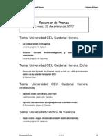 Resumen Prensa CEU-UCH 23-01-2012