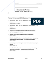 Resumen Prensa CEU-UCH 22-01-2012
