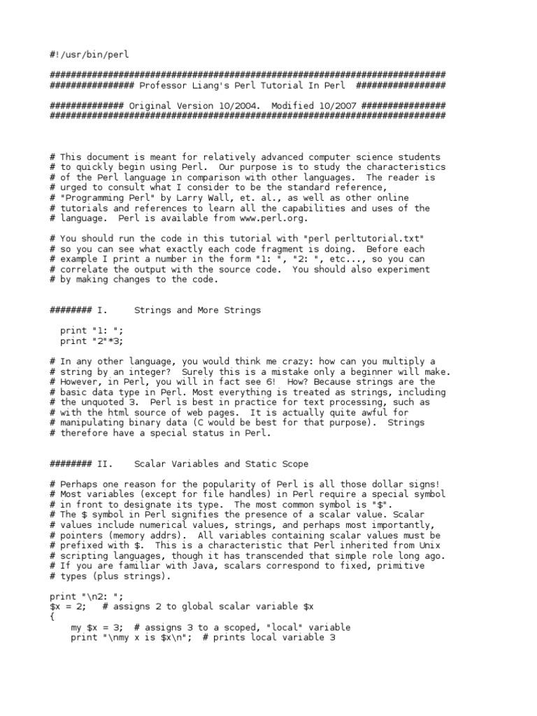 Perl Tutorial | Pointer (Computer Programming) | Array Data Type