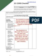 22000 Audit Checklist Sample