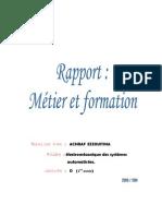 rapport  métier et formation