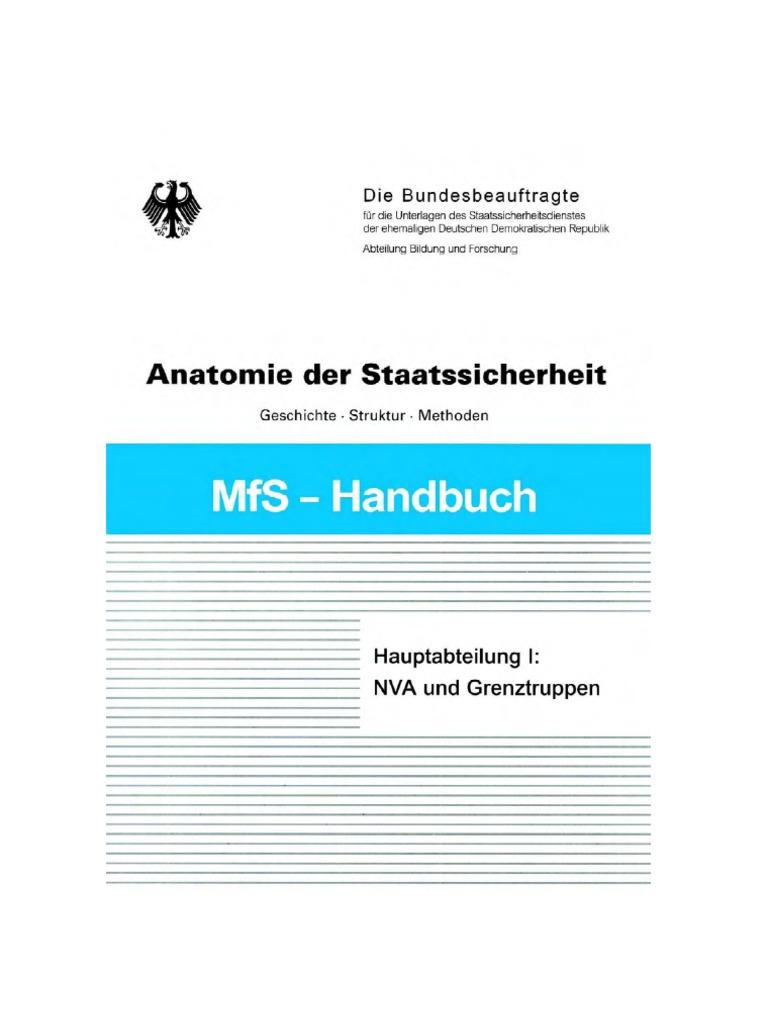 Mfs-Handbuch Anatomie Der Staatssicherheit - Die Hauptabteilung I ...