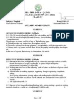 Class 11 - Annual Exam - Syllabus