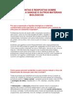 PERGUNTAS E RESPOSTAS SOBRE EXPOSIÇÃO A SANGUE E OUTROS MATERIAIS BIOLÓGICOS