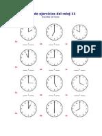 Hoja de Ejercicios Del Reloj 11