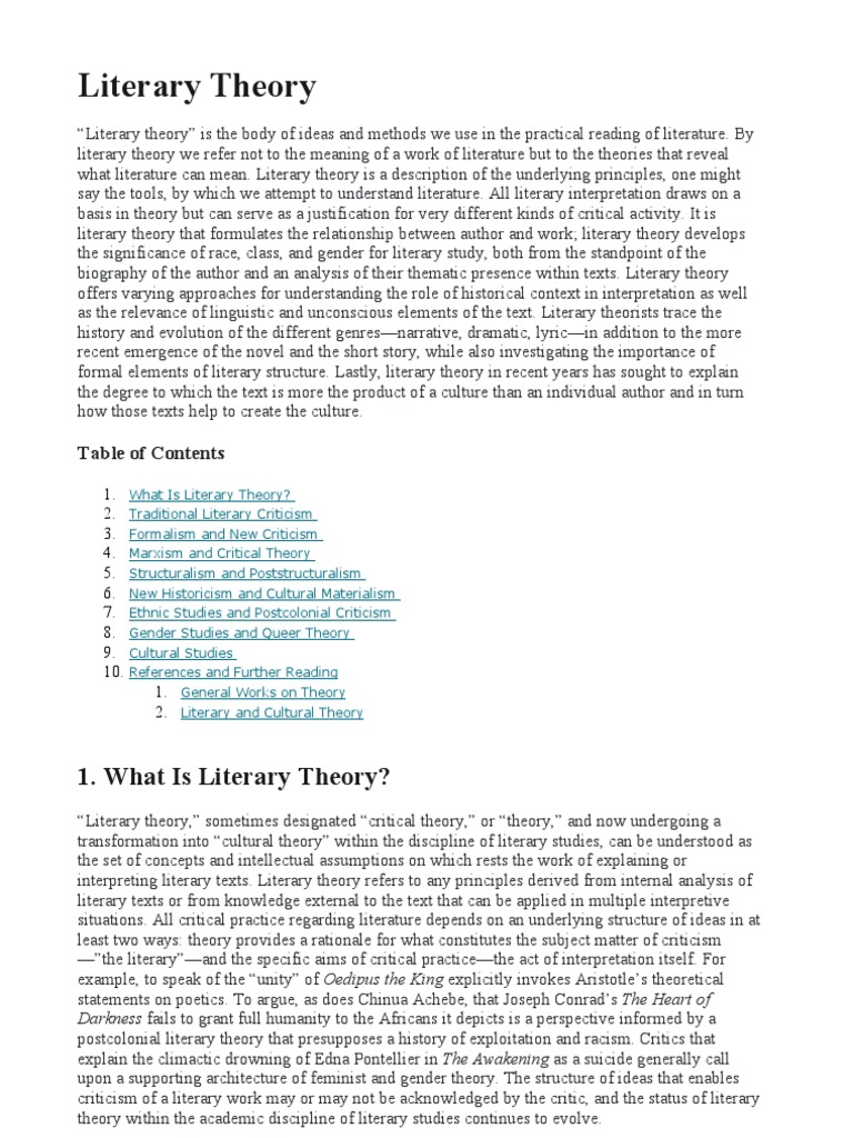 literary theory The johns hopkins guide to literary theory and criticism is an indispensable resource for scholars and students of literary theory and discourse compiled by 275 specialists from around the world, the guide presents a comprehensive historical survey of the field's most important figures, schools, and movements and is updated annually.