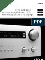 Arcam Avr200e Manual