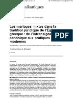 C. PITSAKIS - Les Mariages Mixtes Dans La Tradition Juridique de l'Eglise Grecque