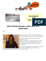 Atriz Neuza Borges sofre AVC e é internada