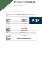 Format for Mandatory Disclosure