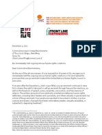 Joint Letter to Bainimarama - ITUC ^ Frontline Defenders ^ IFJ ^ Human Rights Watch ^ IJF - 03 December 2011