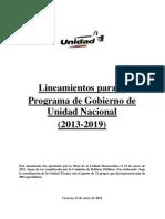 Lineamientos para el Programa de Gobierno de Unidad Nacional. (2013-2019