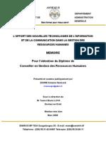 L'APPORT DES NOUVELLES TECHNOLOGIES DE L'INFORMATION ET DE LA COMMUNICATION DANS LA GESTION DES RESSOURCES HUMAINES