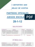 HORARIOS PARTIDOS 28-01-12