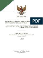 Law No. 2 of 2012 Indonesia Land Acquisition (Wishnu Basuki)