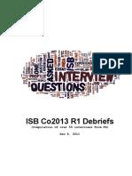 ISB 2013 R1 Debriefs