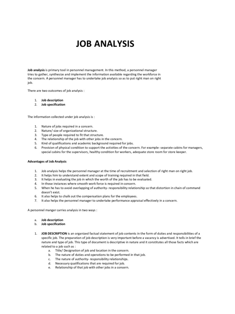 personnel manager job description