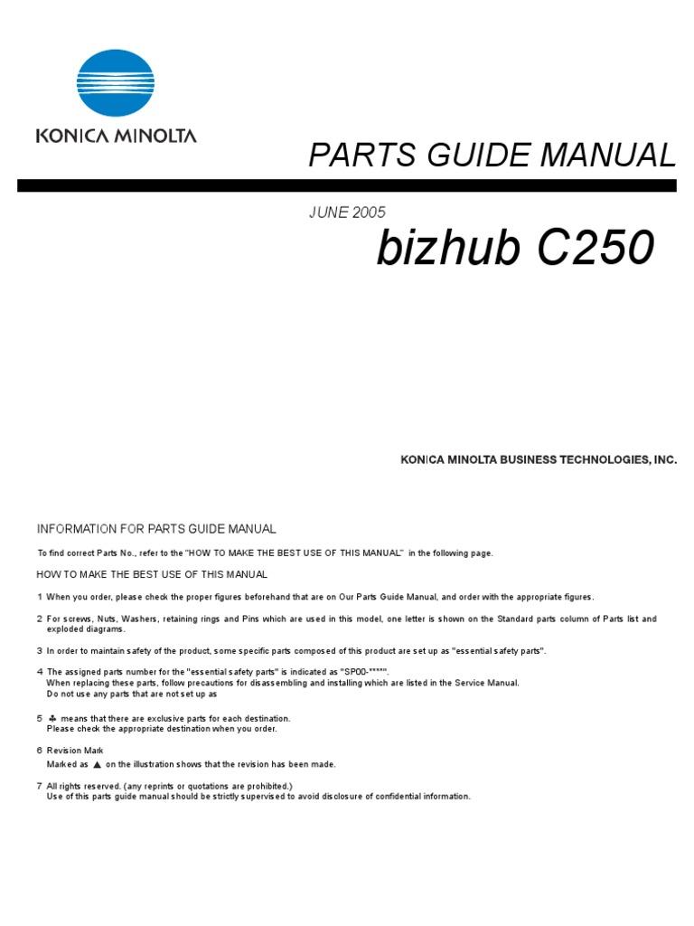 konica minolta parts manual bizhub c250 rh es scribd com A Toner for Bizhub C250 bizhub 250 parts manual