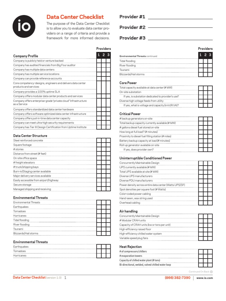 72467969 Data Center Checklist Data Center Electrical Engineering