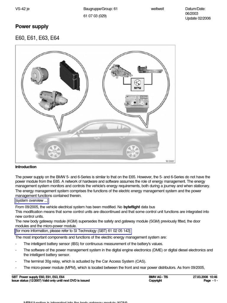 Sistema Electrico Y De Carga Bmw E60 Battery Charger Servotronic Wiring Diagram Electricity