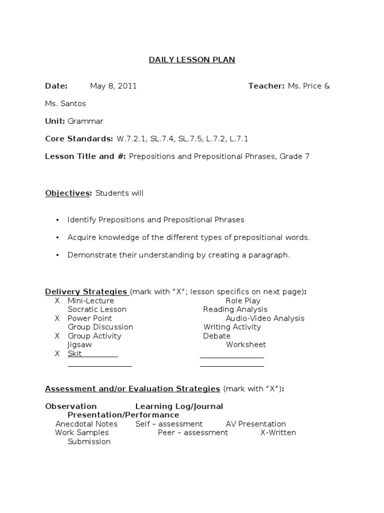 Prepositions and Prepositional Phrases – Prepositional Phrase Worksheet