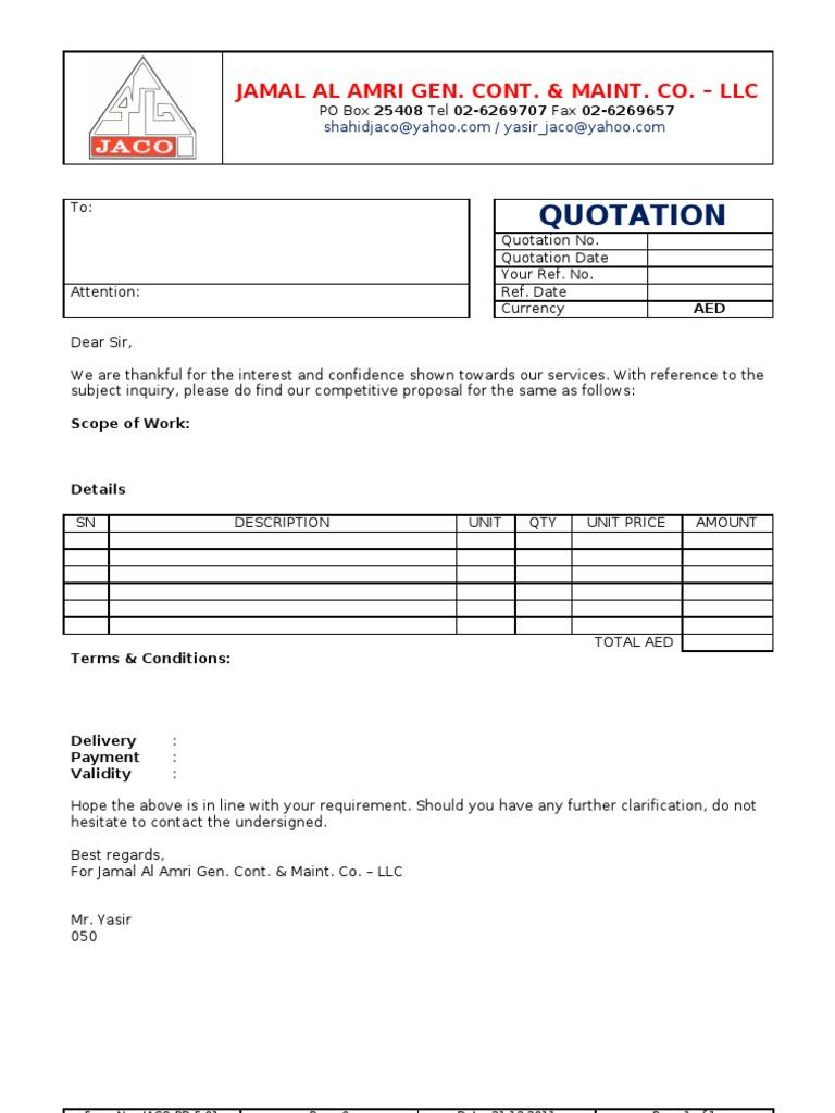 Price Quotation Format – Quotation Letter
