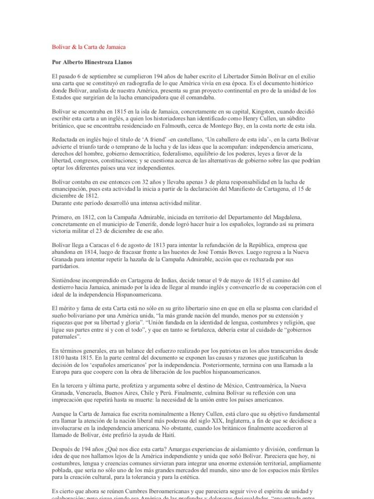 Bolívar y la carta de Jamaica