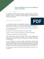 Equipo de protección individual para uso en planta de tratamiento de aguas residuales