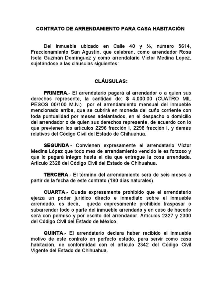 Contrato De Arrendamiento Para Casa Habitaci N 29 Abr 06