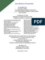 Federal-Postal Coalition Testimony On Retirement Compensation 1-25-2012