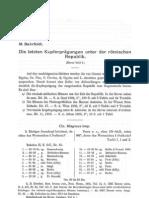 Die letzten Kupferprägungen unter der römischen Republik / M. Bahrfeldt
