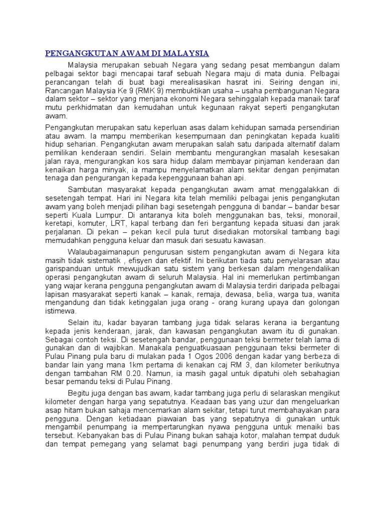 Contoh Karangan Masalah Pengangkutan Awam Surat 35