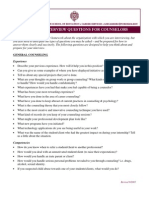 Selected Interview Questions for Counselors